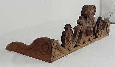 French Antique Solid walnut Wood Crest pediment foliage shell