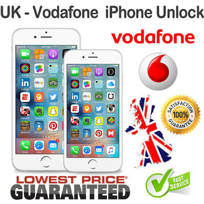 FACTORY UNLOCK SERVICE For iPhones 4S 5 5S 5C SE 6 6S 6S+ 7 8 X plus Vodafone UK