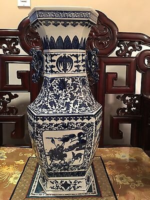 CHINESE KANG XI  BLUE AND WHITE VASE  HAND PAINTED PORCELAIN AROUND 21x8.5