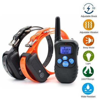 Waterproof 330yard Remote Dog Training Collar Rechargeable Anti Bark Pet Trainer