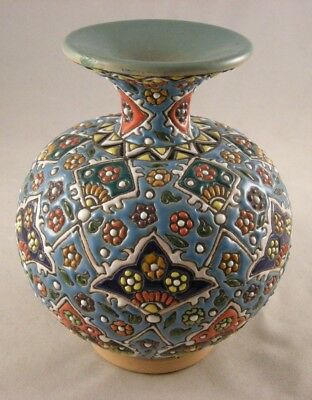 Persian Decorative Handmade Mina Kari Pottery Enameled Beautiful Fine Art Vase