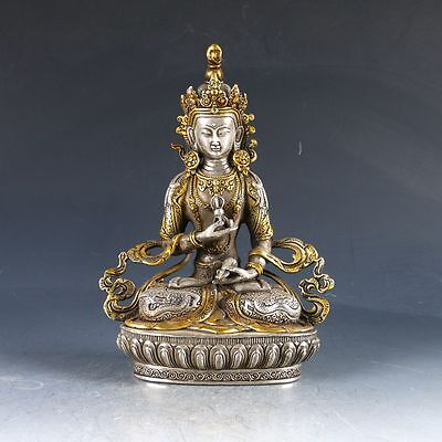 Chinese Silver Copper Gilt Handwork Carved Vajrasattva Statue