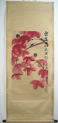 Fine Vintage Chinese Scroll  Painting  Insects Leaf by Qi Baishi 齐白石 草虫红叶