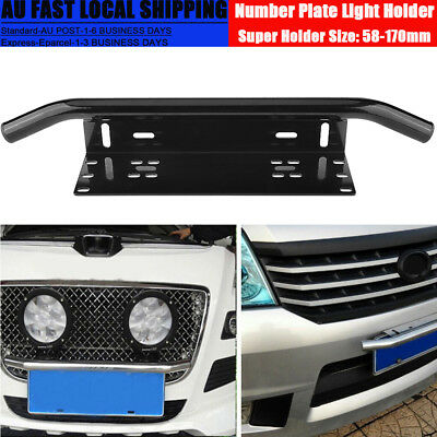 "23""Number Plate Bullbar Frame For Driving Light Bar Mount Mounting Bracket Black"