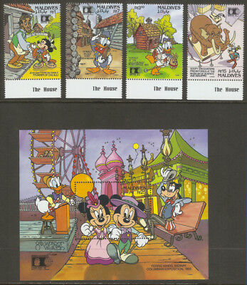 Maldives 1992: Disney Characters In Chicago (Sc# 1668-72) Mnh