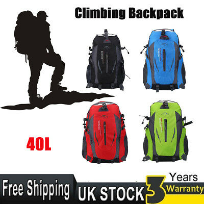 UK 40L Waterproof Outdoor Sports Backpack Travel Hiking Camping Rucksack Bag New