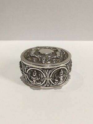Antique Solid Silver,indian,trinket Box/pill Box , Stunning!!!