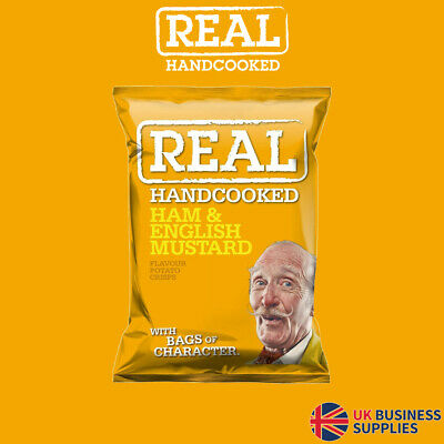 Real Crisps Hand Cooked Ham & English Mustard Flavour 24 x 35g