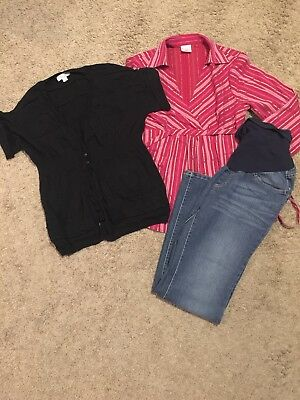 Maternity Outfit/Set/Lot - Small - Blouse/Jeans/Sweater - Oh Baby/Motherhood/Liz