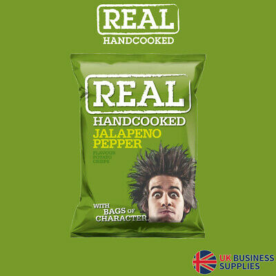 Real Crisps Hand Cooked Jalapeno Pepper Flavour 24 x 35g