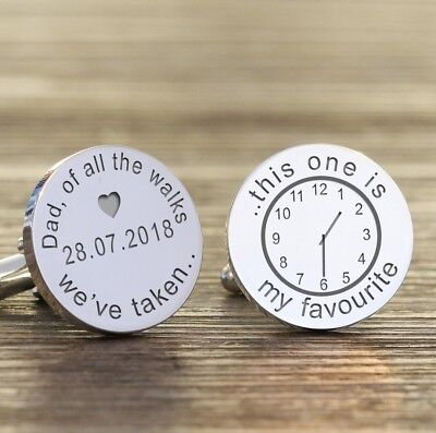 Personalised Father of the Bride Silver Finish Wedding Cufflink of all the walks