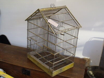 French Vintage Wood And Iron Antique Bird Cage