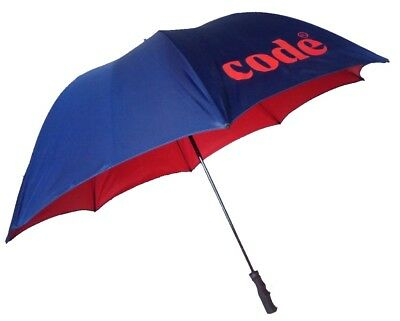 Double Canopy Golf Umbrella - Navy Blue Outer & Red Inner Canopy - Windproof