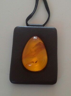 Natural Baltic Amber Pendant on black leather fob with cord necklace, quirky.