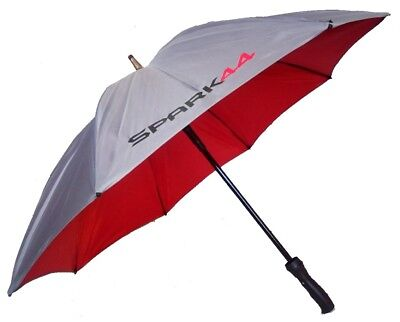 Double Canopy Golf Umbrella with Fibreglass Windproof Frame in Silver & Red