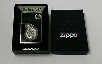 Zippo Lighter 28800 Z Leather Stitching Chorme engraved New in Box Msrp $34.95