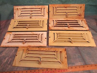 Set of 7 Antique Wall vents art deco style originals woorking painted chippy