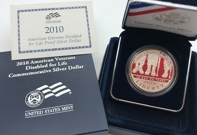 United States 2010 Silver Proof $1 Dollar American Veterans Disabled Life - USA