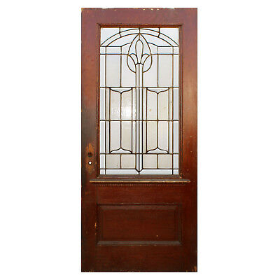"Reclaimed 36"" Oak Door with Beveled and Leaded Glass, NED789"