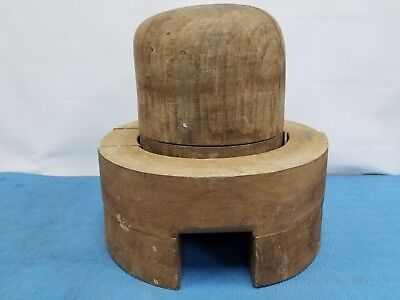 ANTIQUE Wood Wooden Hat Block Form Mold Millinery BRIM AND CROWN 7 1/2 # 7808