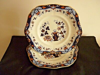A Vintage Pair Of Gaudy Welsh Cake Plates Imari Colours