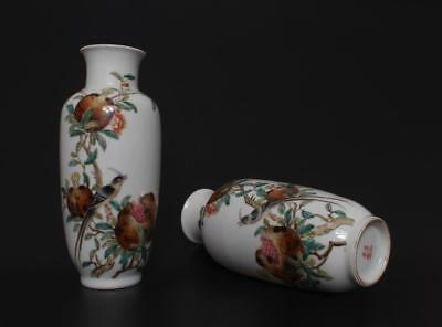 Perfect Antique Pair Chinese Porcelain Famille-Rose Vases JuRenTang Mark