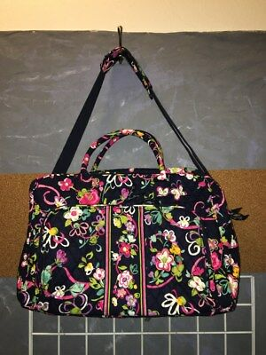 "Vera Bradley ""Ribbons"" retired 2013 Weekender carry-on travel bag 13"" x 18.5"""