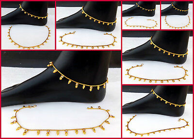 Ethnic Indian Dulhan Jewelry Anklet Set Gold Plated wedding Polki Chain Payal