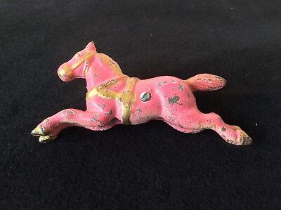 Cast Iron Carousel Horse Painted Pink Gold 1 Sold Indiv 2 Avail Vtg? Antque?