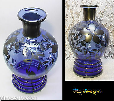 BOTTIGLIA VETRO BLU ANTICA VASETTO ARGENTO Antique Blown Glass Bottle Silver