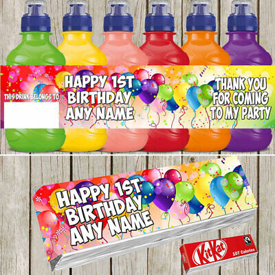 7 x Balloons Baloon Personalised Self Adhesive Fruit Shoot Labels Birthday F089