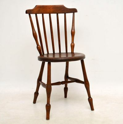 Antique Victorian Solid Elm Swedish Spindle Back Chair By Ibex