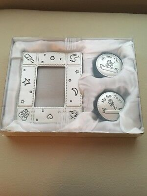 Baby Keepsake Set Picture Frame First Curl And First Tooth Boxes Silver