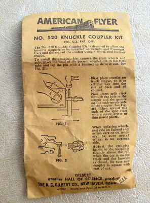 American Flyer 520 KNUCKLE COUPLER KIT, CONVERTS (2) LINK TO KNUCKLE COUPLERS !