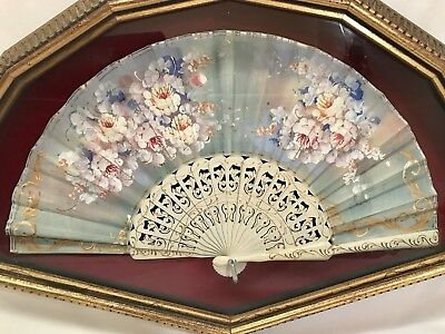 Antique Hand painted French Hand Fan Set in Gold Shadow Box Frame