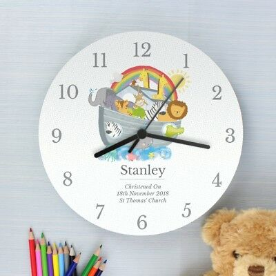 Personalised Noah's Ark Children's Kids Bedroom Wall Clock Wooden Clock Gifts