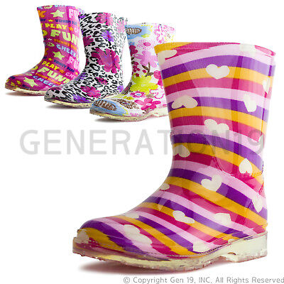 Youth Girls Fashion Rubber Comfort Rainboots RB88B2 (Youth 11 12 13 1 2 3)
