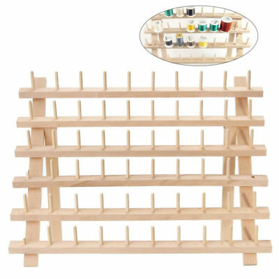 60 Spool Wooden Sewing Thread Stand Organizer Embroidery Storage Rack Holder