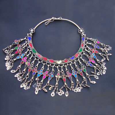Gorgeous Antique Ethnic Tribal Old Silver Rare Vintage Choker Necklace Jewelry