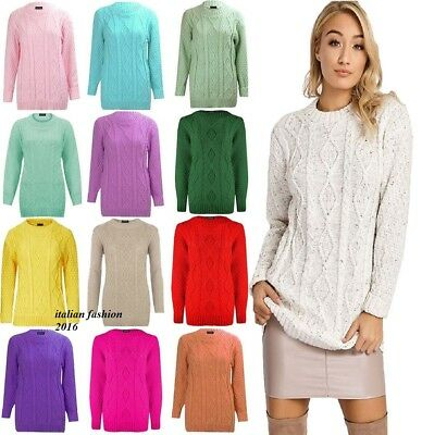 dd508d2d322 WOMENS CHUNKY CABLE Knit Jumper Pullover Ladies Sweater Top