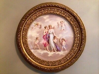 Large antique porcelain hand-painted signed plaque in ornate frame