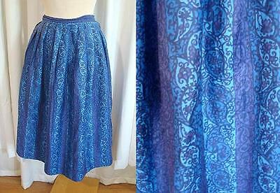 "VINTAGE 50s Blue/Purple PAISLEY STRIPE 1950s FULL Cotton SKIRT 29"" Waist S"