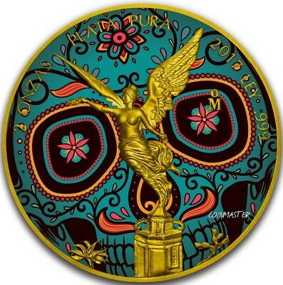 2017 2 Oz Silver DAY OF THE DEAD LIBERTAD Coin, 24K GOLD GILDED..