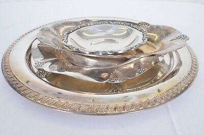 Lot of 4 Silverplated Dishes Serving Trays