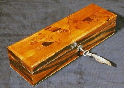 Antique Japanese Box Wood Wooden Yosegi Marquetry 19 Th Japan Meiji Era