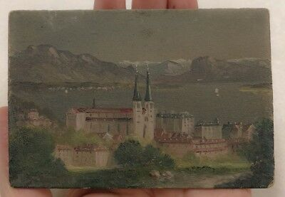 Small Mini Painting Lucerne Cathedral Switzerland Europe Mountain Scene VTG oil