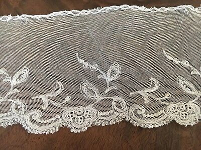 "Antique Net Lace Trim Victorian Edwardian Salvage French Doll Scrap 17"" by 4"" w"
