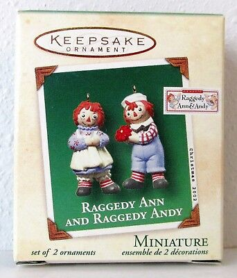NEW 2002 Hallmark Miniature Ornaments RAGGEDY ANN AND RAGGEDY ANDY Set of 2