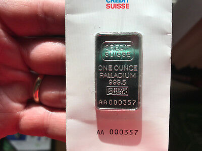 One Ounce Palladium Credit Suisse Valcambi