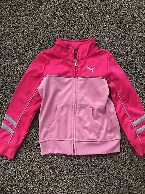 Puma Girls Size 5 Pink Zip Up Collared Long Sleeve Sweatshirt Jacket